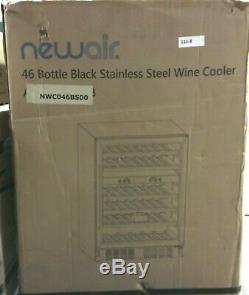 NewAir Wine Cooler Dual Zone 46 Bottle Built-in Black Stainless Steel