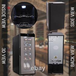 NutriChef Digital Electric 12 Bottle Thermoelectric Wine Chiller Cooler, Black