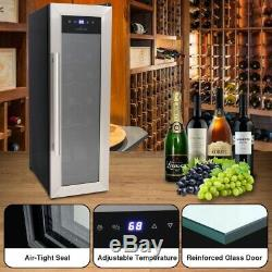 NutriChef PKCWC12- Home Wine Cooler Fridge. Digital Touchscreen Control, 12 Bottle