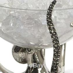 Octopus Stand Glass Bowl Ice Wine Beer Bottle With Bucket Cooler Stainless Steel