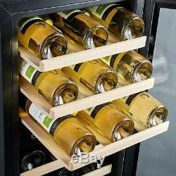 Phiestina Dual Zone Wine Cooler Refrigerator 33 Bottle Free Standing Compre