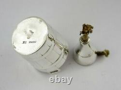 Rare Novelty SILVER CHAMPAGNE BOTTLE in WINE COOLER TABLE LAMP, London 1895
