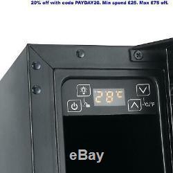 Refurbished Cookology CWC150BK 15cm Wine Cooler in Black Glass, 7 Bottle Cabinet