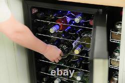 Russell Hobbs RH34WC1 93L 34 Bottle Freestanding Black Glass Door Wine Cooler