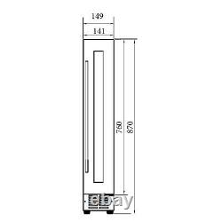 SIA WC15BL 150mm / 15cm Black Under Counter LED 7 Bottle Wine Cooler Chiller
