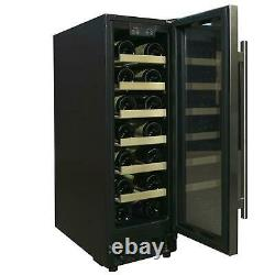SIA WC30SS 300mm / 30cm Stainless Steel Under Counter LED 19 Bottle Wine Cooler