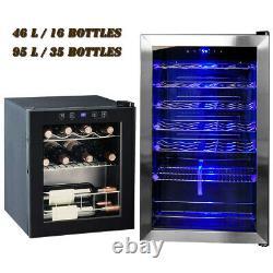 SMAD 16/33 Bottles Wine Fridge Beverage Cooler Glass Door Stainless Steel Drinks