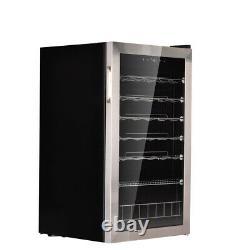 SMAD 33 Bottle Wine Fridge Beverage Cooler Stainless Steel Frame LED Glass Door
