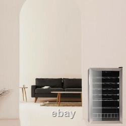 SMAD 35 Bottle Wine Cooler LED Stainless Steel Glass Door Drinks Beverage Fridge