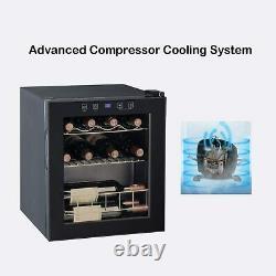 SMAD JC46E LED Wine Fridge Black 3-18°C 16 Bottle Mini Wine Cooler Thermostat
