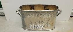 Silver Plate Divided Double Wine Cooler Chiller Ice Bucket 2 Bottle high quality