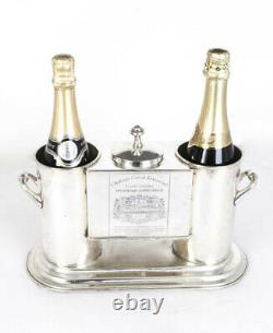 Silver Plated 2 Bottle Wine Cooler Ice Bucket