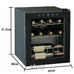 Smad Table Top Wine Cooler Mini Fridge 16 Bottles Glass Door 46 L Drinks Chiller