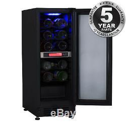 Unbranded 30cm / 300mm Black Under Counter LED 15 Bottle Wine Cooler Chiller