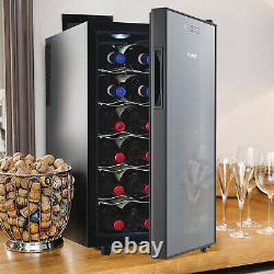 Vinekraft 18 Bottle Wine Drinks Beverage Cooler & Fridge Glass Cover with LED