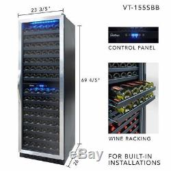 VinoTemp VT155SBB 155 Bottle Dual Zone Red/White Wine Fridge Cooler Full Size