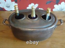 Vintage Style Copper Champagne Ice Bath 3 Bottle With Lid Wine Cooler Bucket Tub