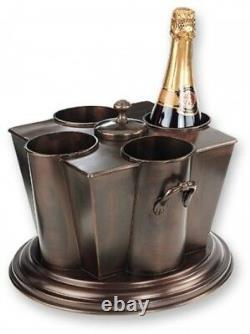 Wine Chiller Antique Copper 4 Bottle Cooler Iron Kitchen Bar Metal Accessory