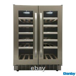 Wine Cooler Danby Dual Zone Stainless Steel, 40 Bottle French Door Freestanding