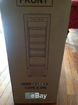 Wine Cooler Fridge Cave 12 Bottle Black With S/steel Handle LED Light NEW