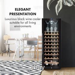 Wine Cooler Fridge Drinks Refrigerator 1 Zone 148 L 54 Bottles Glass Door Black