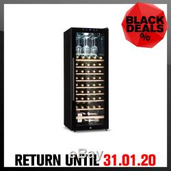 Wine Cooler Fridge Drinks Refrigerator 2 Zones 148 L 54 Bottles Glass Door Black