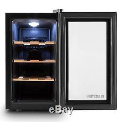Wine Cooler Fridge Refrigerator Bar Hotel Restaurant 8 Bottles Glass Wood Rack