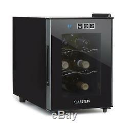 Wine Cooler Refrigerator Fridge Beer Home 16 L 6 Bottles Glass Door Black