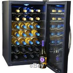 Wine Cooler Thermoelectric Black Interior Light Removable Shelves 28-Bottle