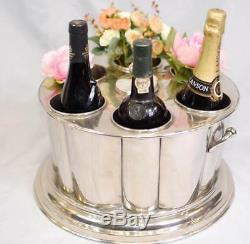 Wine Cooler Wine Bucket Ice Bucket Holds 6 Bottles Nickel Plate