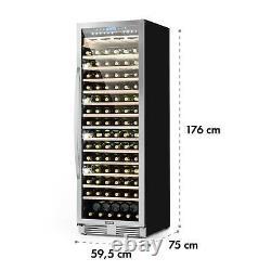 Wine Fridge Cooler Refrigerator 425 L 165 Bottles Glass Door LED Light Black