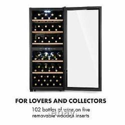 Wine Fridge Drinks Cooler Refrigerator 2 Zones 102 Bottles 100W LED Touch Black