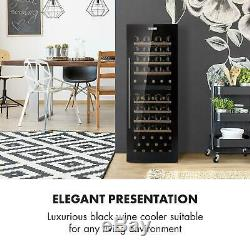 Wine Fridge Set cooler 2 Zone 191L 77 Bottles Wine Glass Shelf LED Black