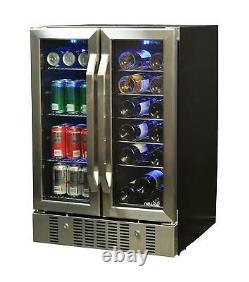 Wine and Beverage Refrigerator 8-Bottle & 60-Can Mini Fridge Wine Rack Cooler