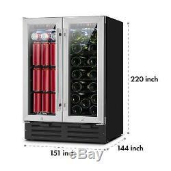 Wine cooler Refrigerator Fridge Built-in 18 Bottles Bar Home Drink chiller Steel