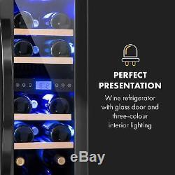 Wine cooler fridge refrigerator 2 zones 17 bottles 53L counter top LED Silver